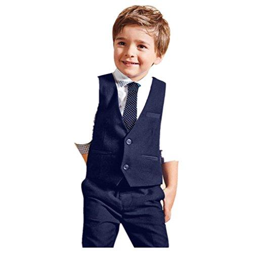Carolilly Jungen Anzug mit Weste Hemd Gentleman ...